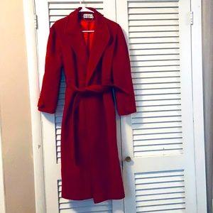 Vintage Cherry Red 100% Wool Wrap Coat
